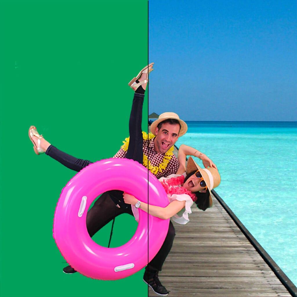 Animation photo fond vert : remplacement du fond par un décor de plage.