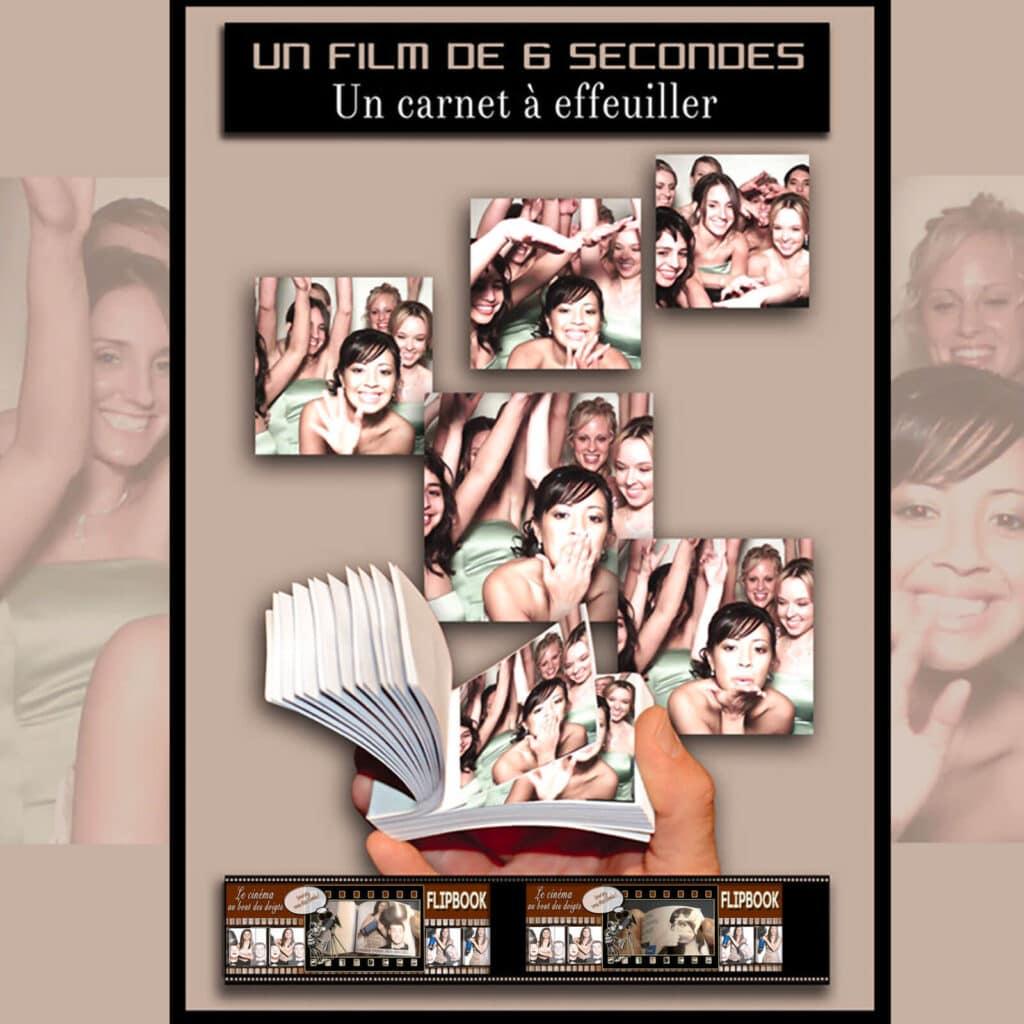 Animation photo et vidéo :  un carnet Flipbook réalisé lors d'un mariage à Paris.