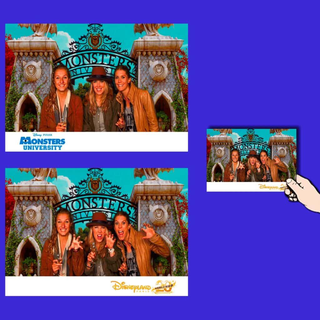 Animation photo événementielle : 2 photos en 1 réalisée lors l'avant-première du film Monsters à Disneyland.