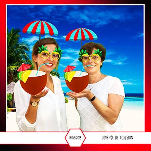 Borne photo, borne GIF avec fond vert avec des accessoires réalité augmentée