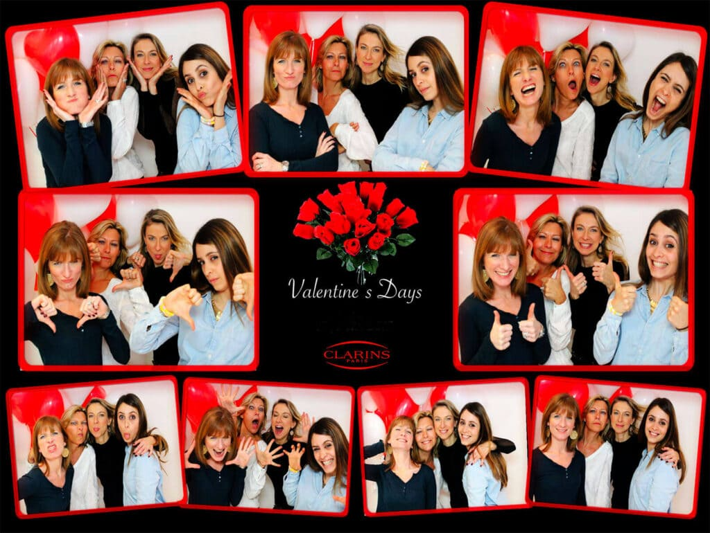 Photobooth : Une planche photo regroupant les 9 Poses prisent au cours d'un événement corporate à Paris.