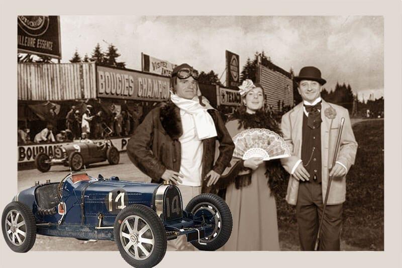Animation fond vert avec costumes années 20 sur le circuit Bugatti.