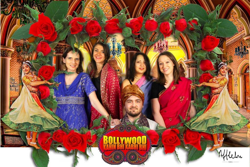 Soirée Bollywood réalisée par une animation fond vert avec costumes.