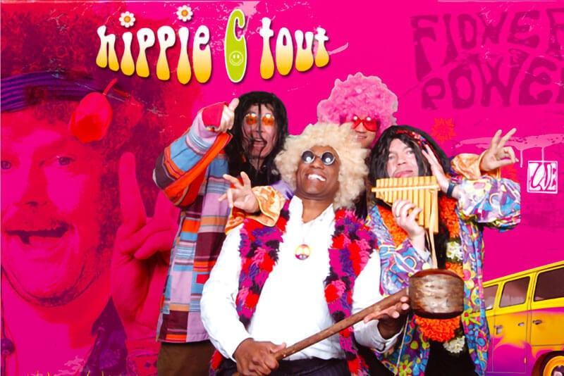 Retour aux années hippie avec l'animation photo fond vert avec costumes.