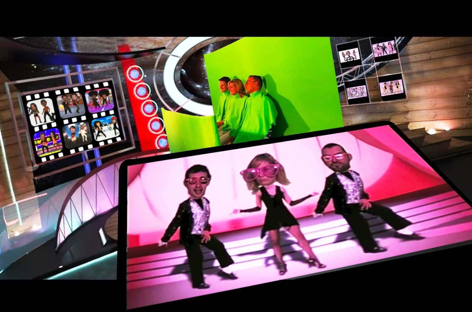 animation sur stand salon professionnel : animation video musicale Dance Heads en action avec 3 participants