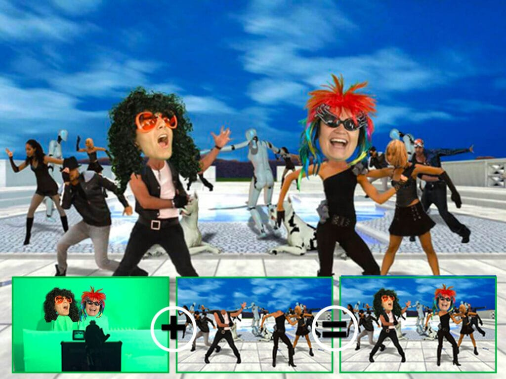 Animation video fond vert en action : Incrustation sur fond vert des têtes dansantes des participants
