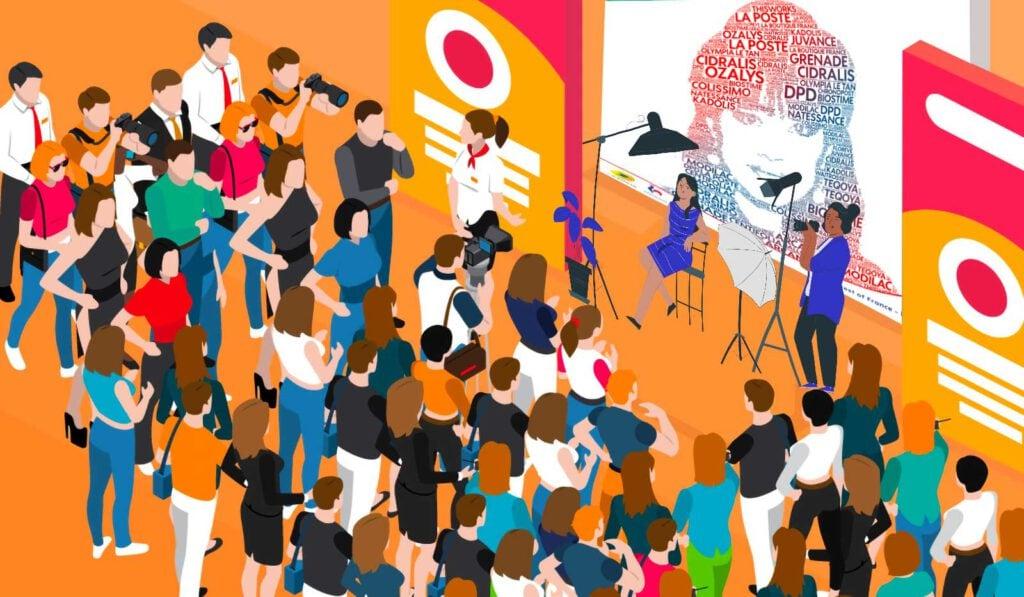 Animation séminaire d'entreprise : Les invités se rassemblent autour de l'animation nuage de mots