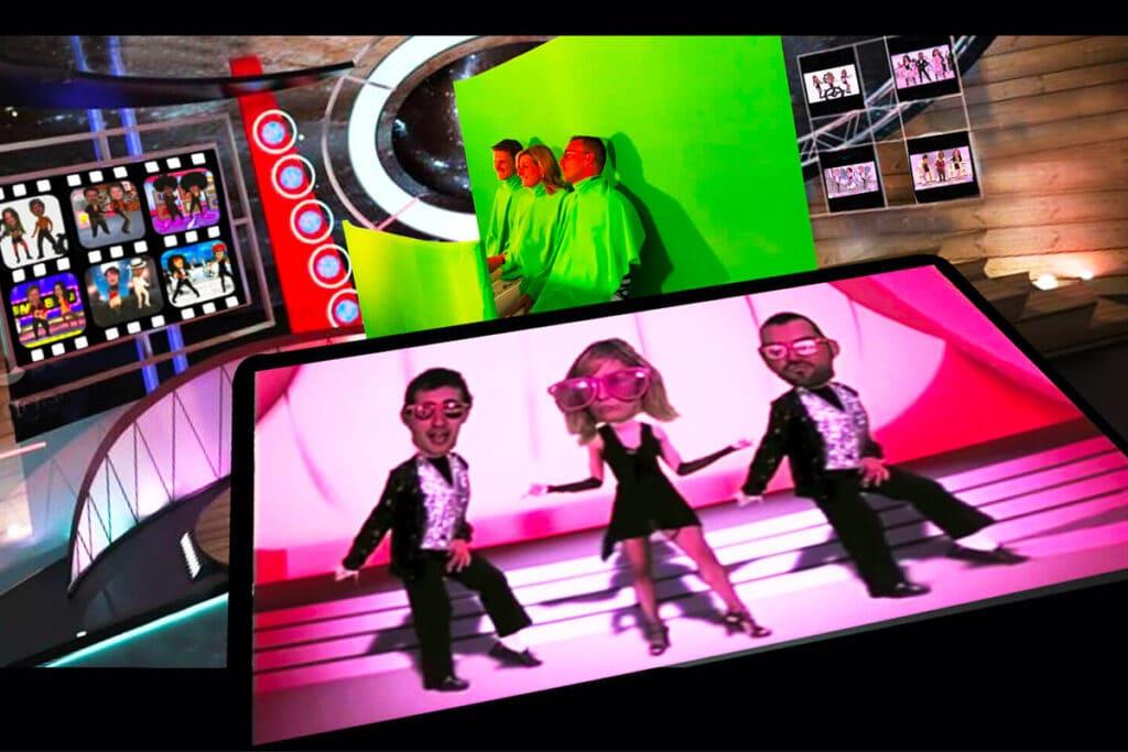 Animation galerie marchande : 3 personnes participent à l'animation vidéo musicale Dance Heads
