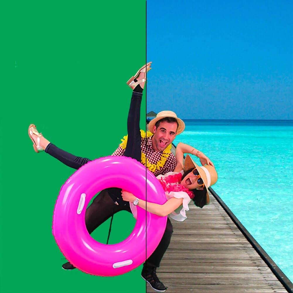 Animation photo fond vert : 2 personnes posent devant un fond vert, celui-ci est remplacé instantanément par un décor de plage.